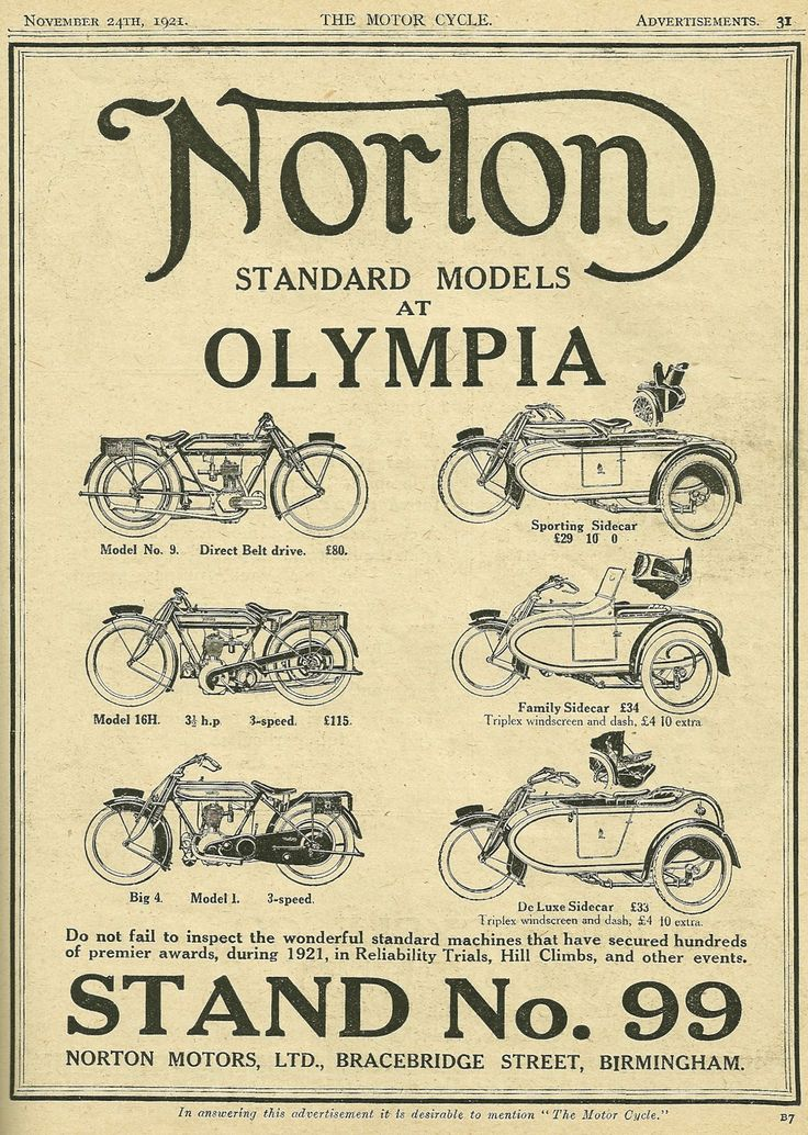 Norton Motorcycles Advertisement from 1921