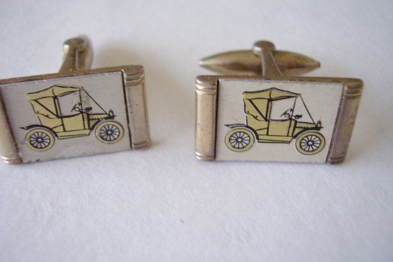 Cuff-links 1950's Vintage Classic Car Enamel Portrait