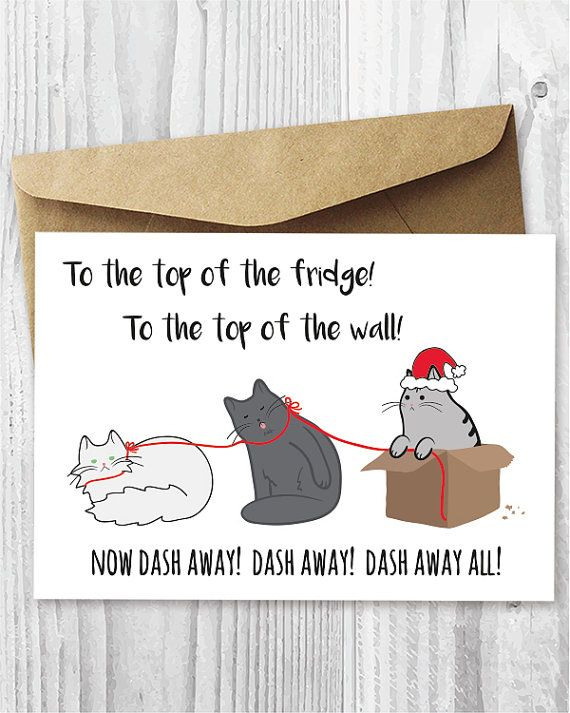 Printable Christmas Cards, Funny Cats Christmas Cards, Printable Cards, Santa Paws Cat Card DIY, Funny Christmas Card Digital Downloads