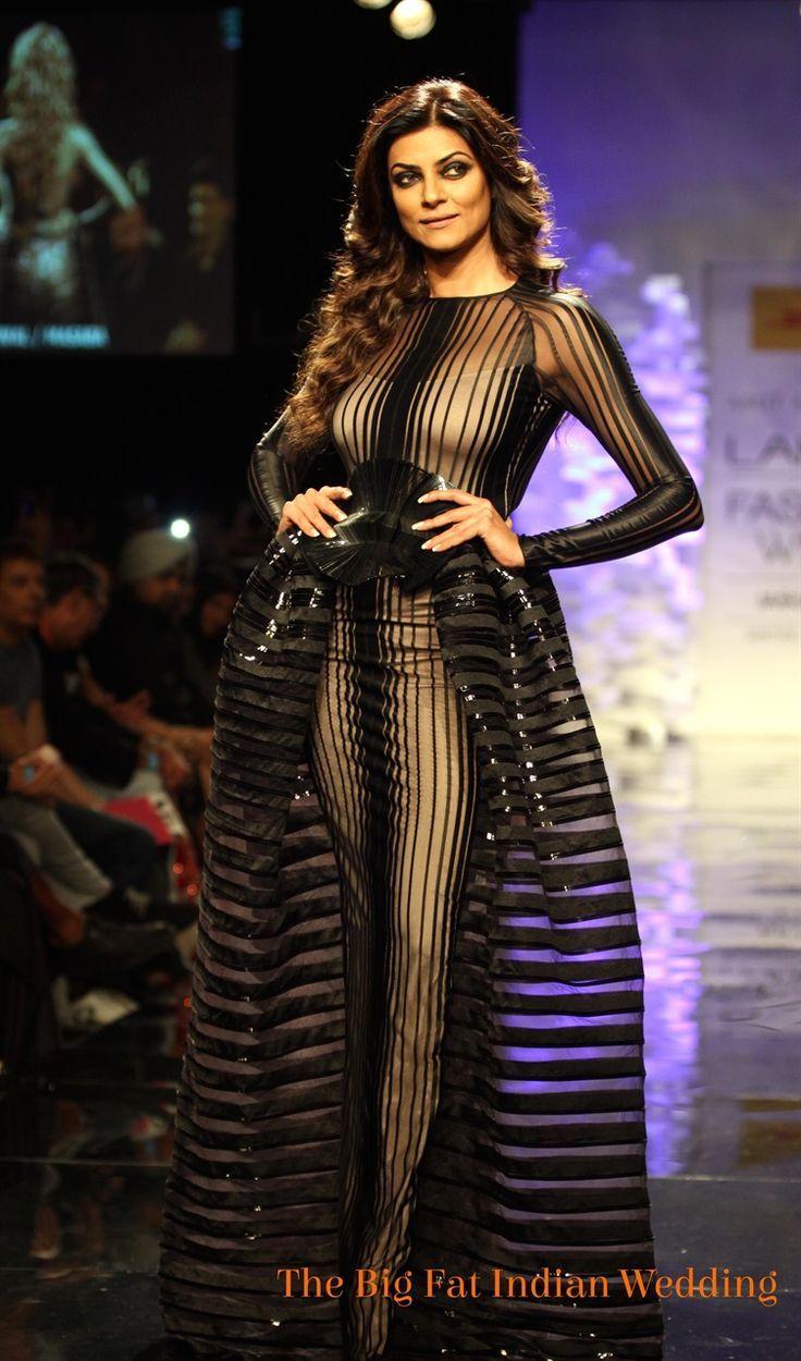 Transparent Dress Fashion Show Black Transparent Striped