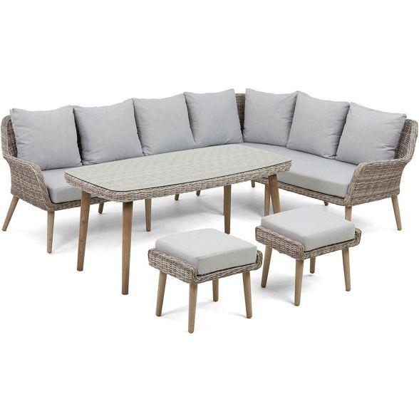 Debenhams Light Grey Rattan Effect Palmira Garden Sofa Table