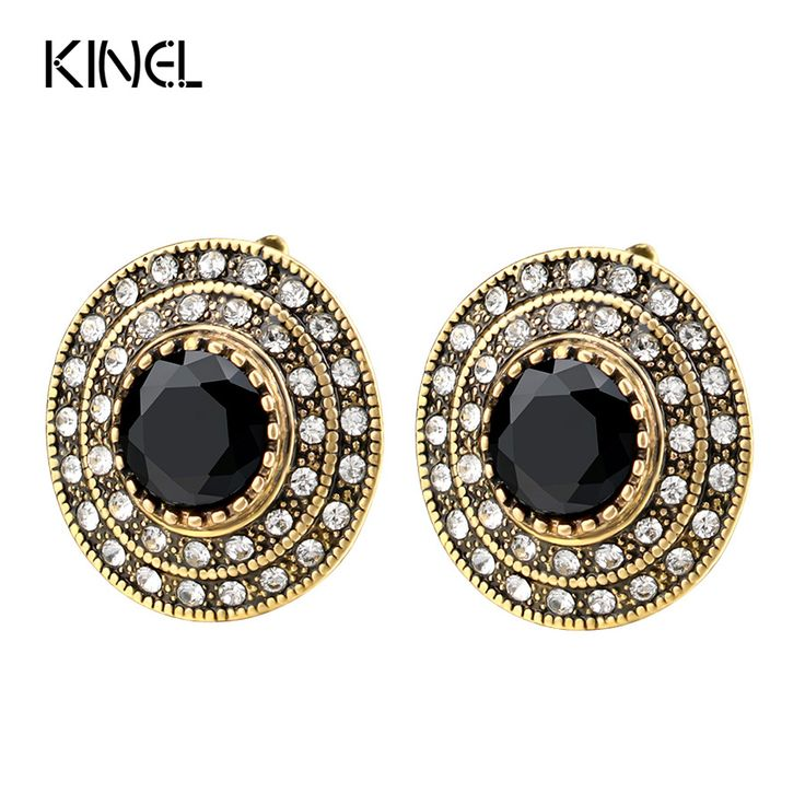 Hot 2017 Fashion Big Crystal Earrings For Women Plating Gold Round Black Indian Jewelry Wedding Party Gift