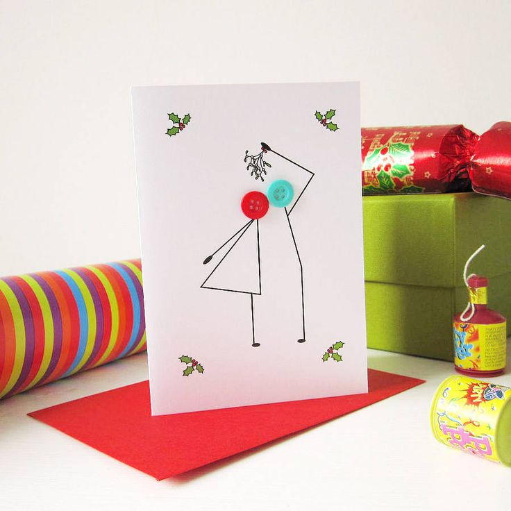 'Mistletoe' Button Christmas Card