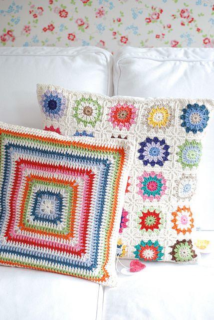 LOVE the bright granny square pillow!