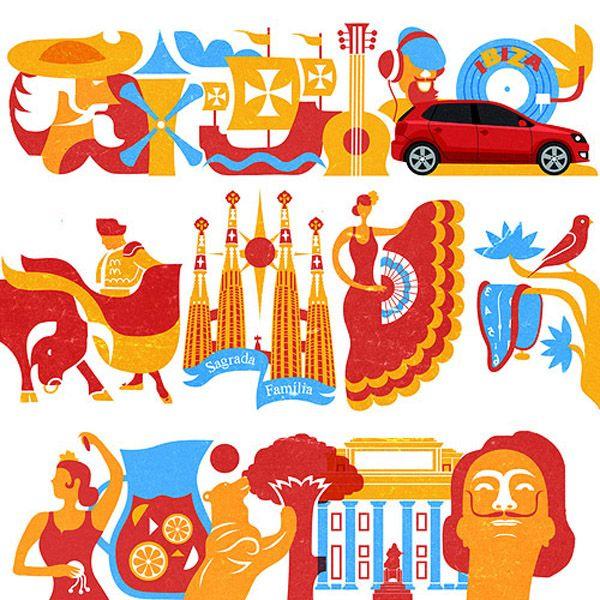VW spain illustrations