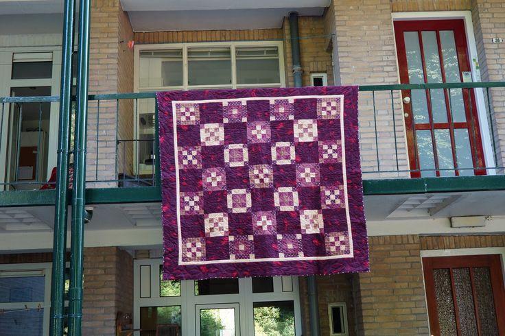 Flanellen quilt ,van Barbara ,samen begonnen in Amerika. 2004/ 2005