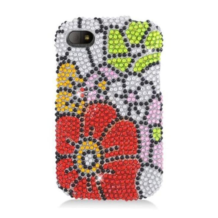 Insten Red/ Flowers Hard Snap-on Rhinestone Bling Case Cover For BlackBerry Q10