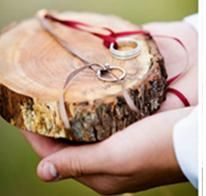 "natural wood ring bearer ""pillow"""