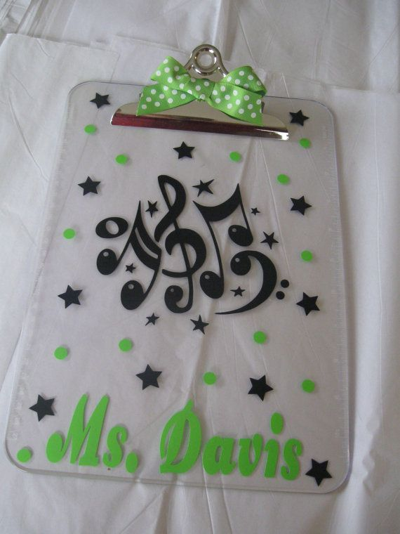Personalized with name clear acrylic clipboard, music teacher, drama theatre teacher or other design, polka dots, back to school gift