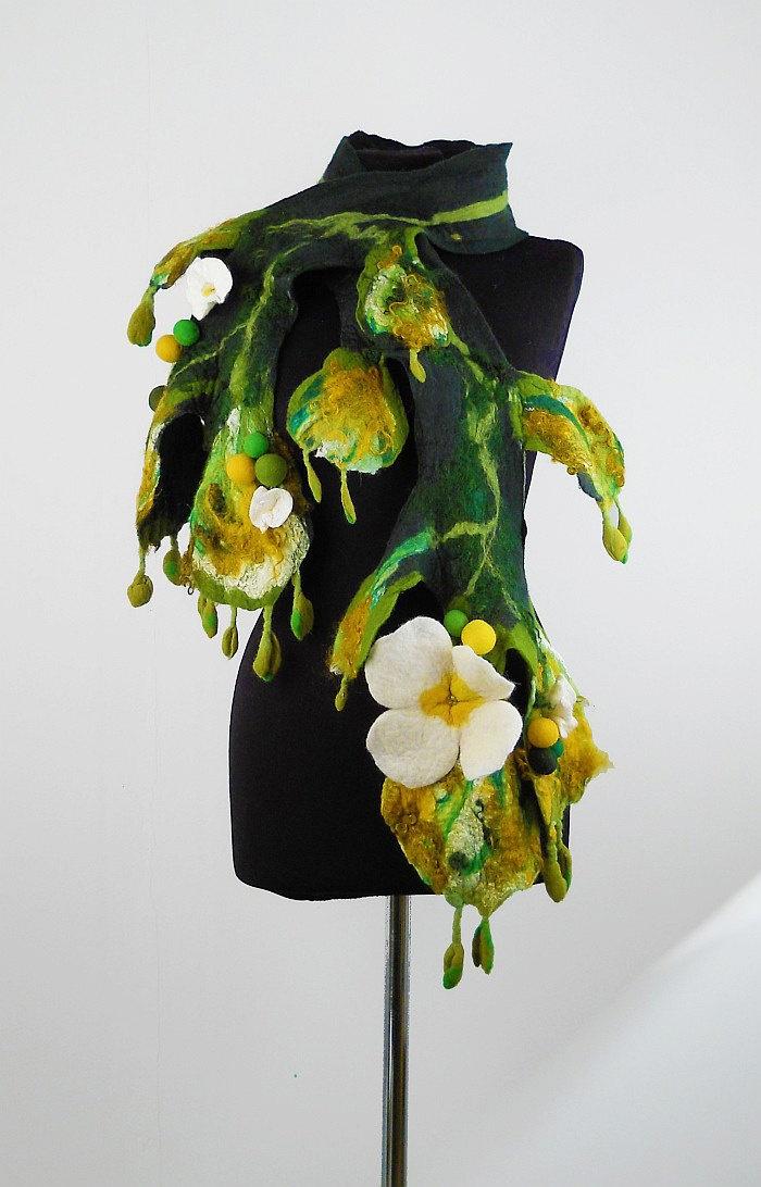 Felted Scarf Nunofelt Scarf Flower Wrap Artistic Shawl ...