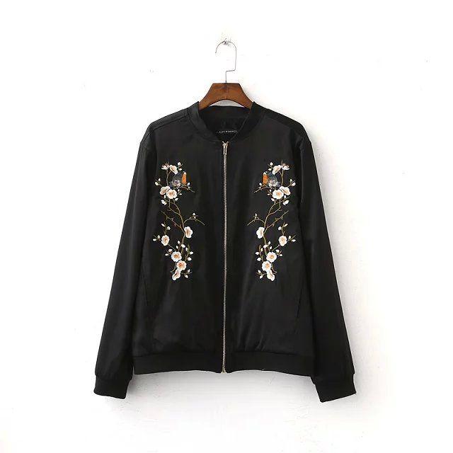 Aliexpress.com: Comprar Mujeres bomber jacket Negro de aves de gran tamaño damas bordados de flores de primavera femenina abrigo casaco chaqueta chaquetas mujer primavera 2016 de capa de la chaqueta de los hombres fiable proveedores en Indigo Store fashion clothing