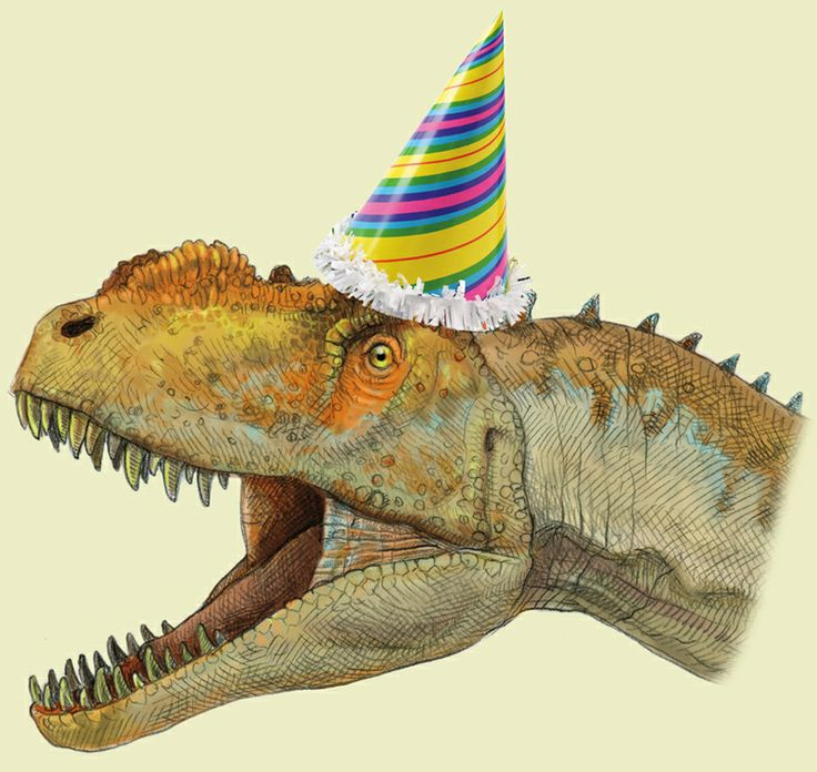 Открытка с динозаврами на день рождения, снегирь