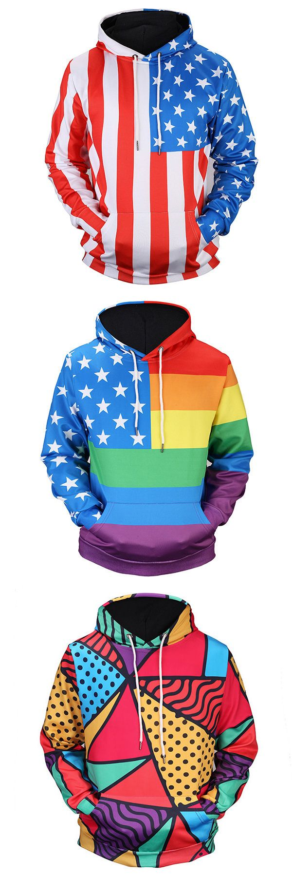 Mens Fashion 3D Printing Colorful Hooded Long Sleeve Casual Sport Hoodies