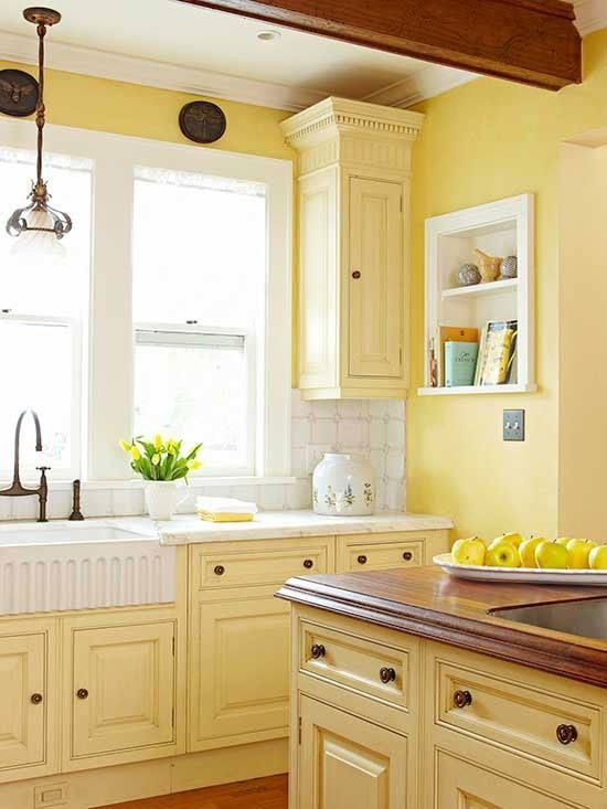 26 best images about yellow kitchens on pinterest how to for Spray painting kitchen cabinets