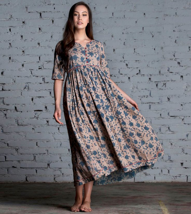 Indigo floral maxi by KharaKapas on Etsy