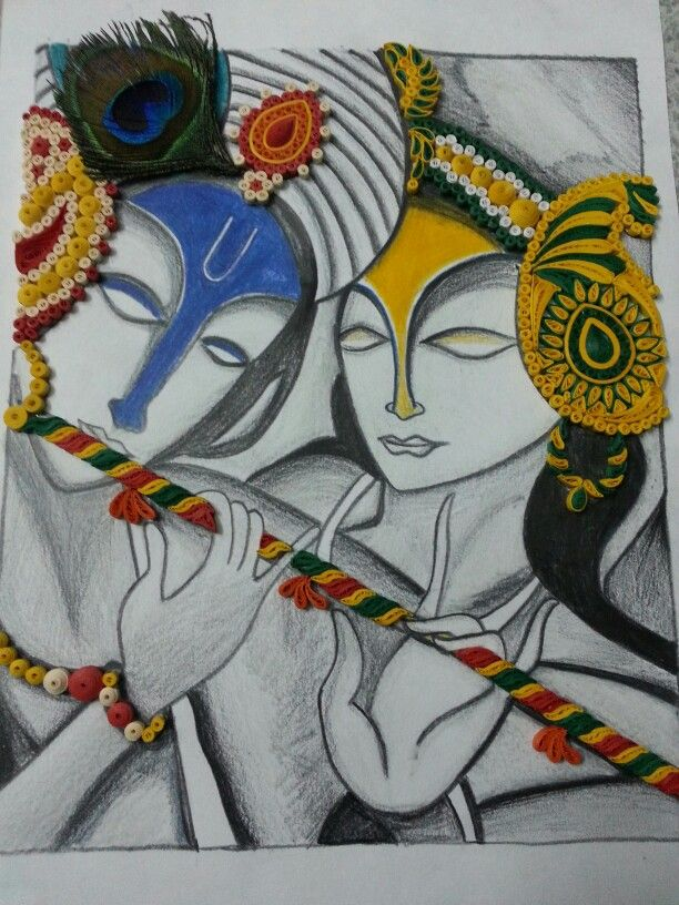 Abstract radha krishna quilled wall frame.. by paranoid