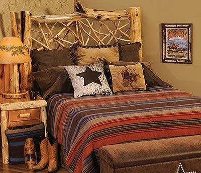 The Tombstone bedspread combines rich looking, earth tone colors to create a simple, but elegant looking western bed set. Accent pillows add life to the set while the faux leather bedskirt and shams complete the look of this luxurious, western bedding set.