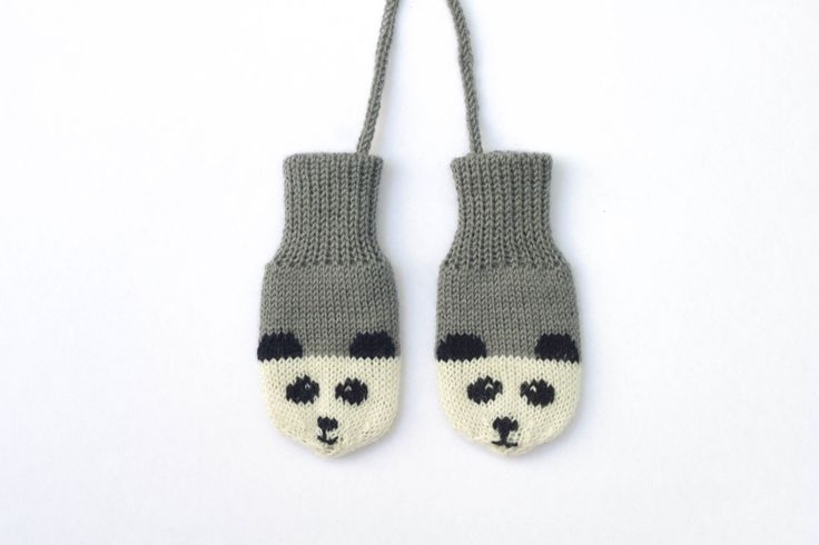 Panda Mittens. Grey knitted baby mittens with little panda faces