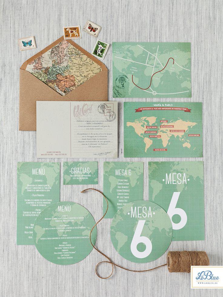 Invitaciones de boda LeBlue. A la venta en leblue.es   Modelo mapa Mundi