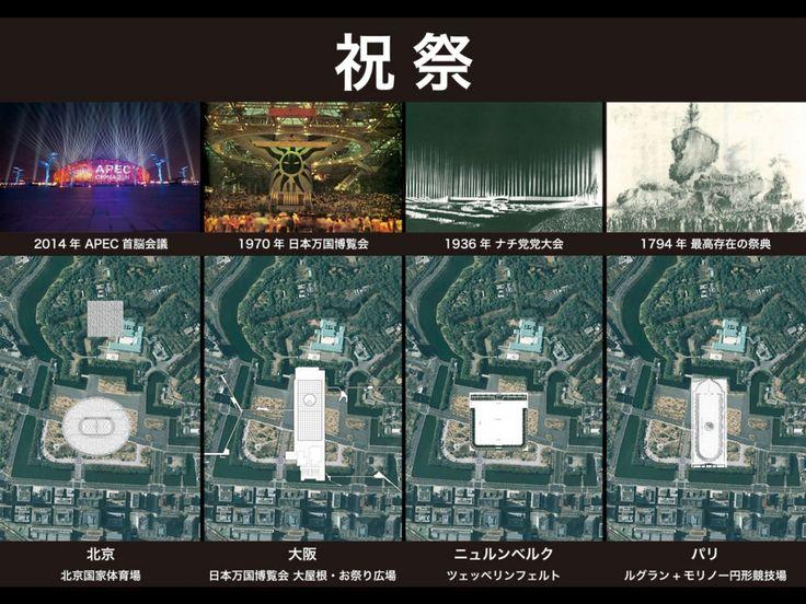 首都の中心には、「祝祭」のための広場がある。  講演のテーマ「東京祝祭都市構想」とは、2020年に皇居前広場で100日間にわたって祭典を行うというアイデア。「プラットフォーム2020」として多数のクリエイターが参加することが想定されています。磯崎さんが中心となって発案、妹島さんが広場のアイデアを、名和さんが装置のアイデアを担当。この構想は2020年東京オリンピック・パラリンピック開催のタイミングに合わせたもので、磯崎さんは「もちろんオリンピックと関連しているのはいいことですが、オリンピックよりもこちらのほうがより重要。私たちはそれ以上のことをやろうとしているんです」と話しはじめました。