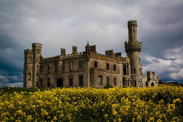 Ducketts Grove, in Carlow Ireland. Ruins of an 18th - 20th Century Gothic Style Mansion