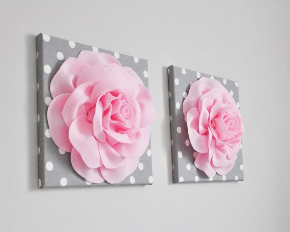 Light Pink Fabric Roses Nursery Decor  3D Wall Art  by bedbuggs