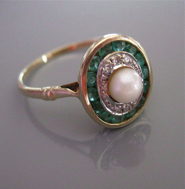 Antique DIAMOND EMERALD PEARL Gold Edwardian Art Deco Ring from antiquejewelryexpo on Ruby Lane WANT WANT WANT NEED