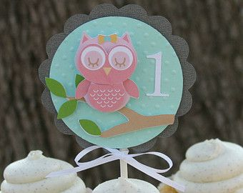 owl cupcake topper owl cupcake picks owl party by lizabitsdesigns