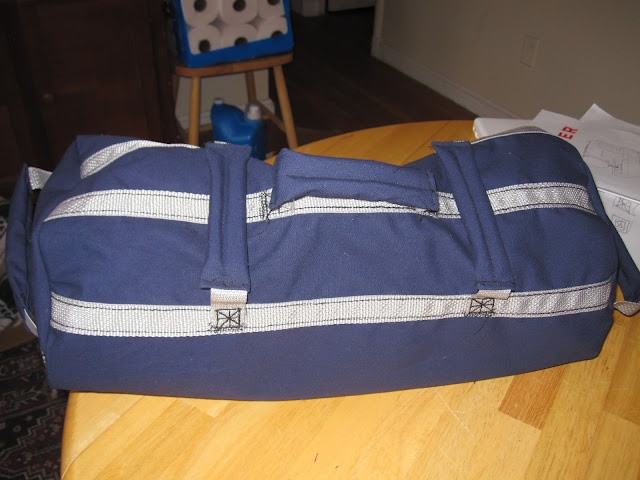 DIY duffel style sand bag, great for budget at home workouts.
