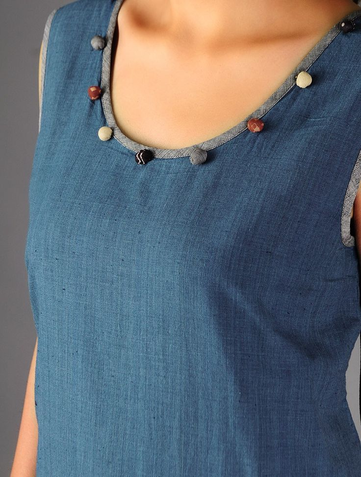 The adding of beads and the contrasting edge is fun.  Cotton Kurta By Jaypore Online at Jaypore.com