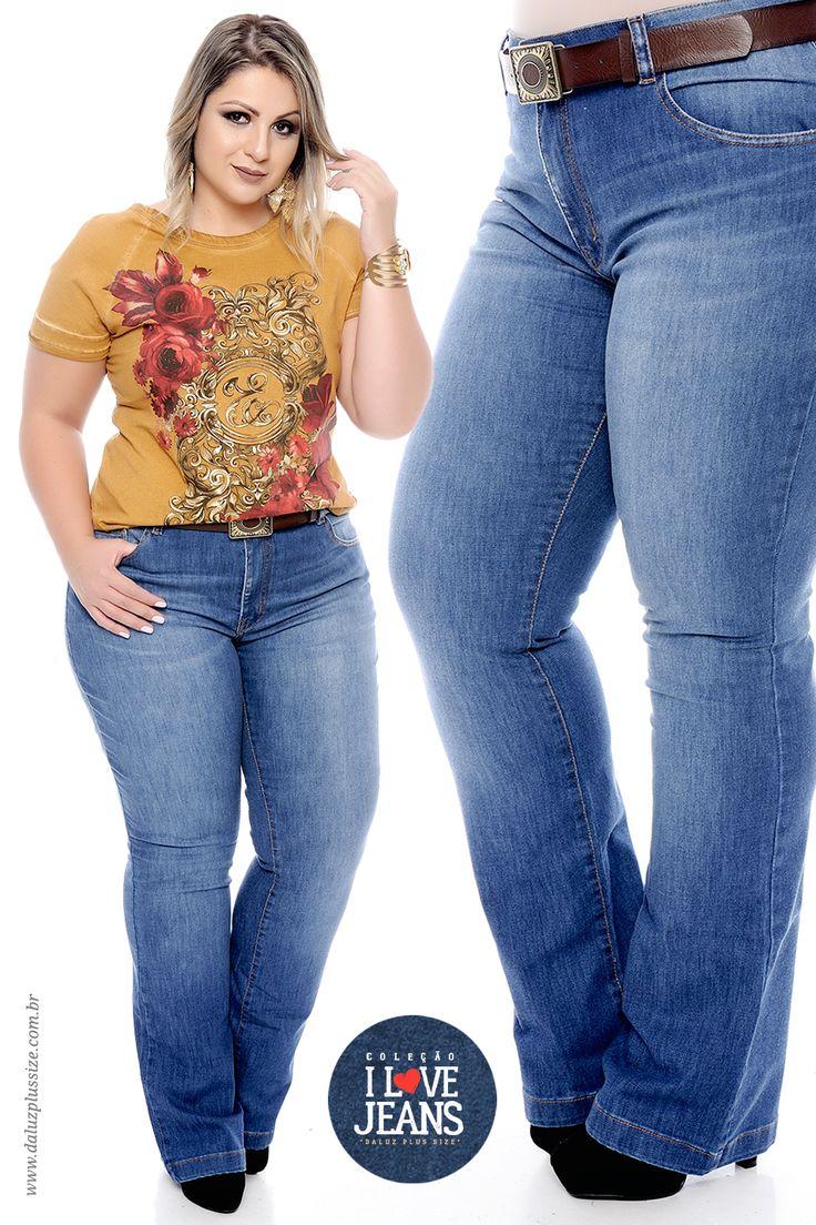 Calça Flare Plus Size Emma - Coleção I Love Jeans Plus Size - daluzplussize.com.br