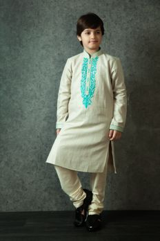 Linen kurta churidar embellished with dori work from #Benzerworld #Benzer #Kidswear #ethnicoutfits #sherwani