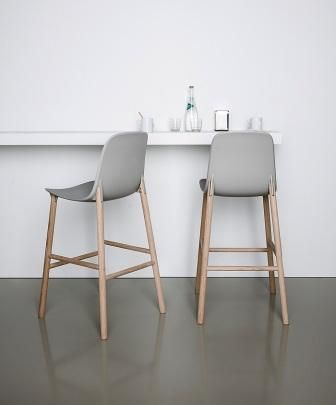 Sharky stool with high back by Kristalia, available in Australia in a variety of coloured seats and timber leg finishes, at www.fanuli.com.au