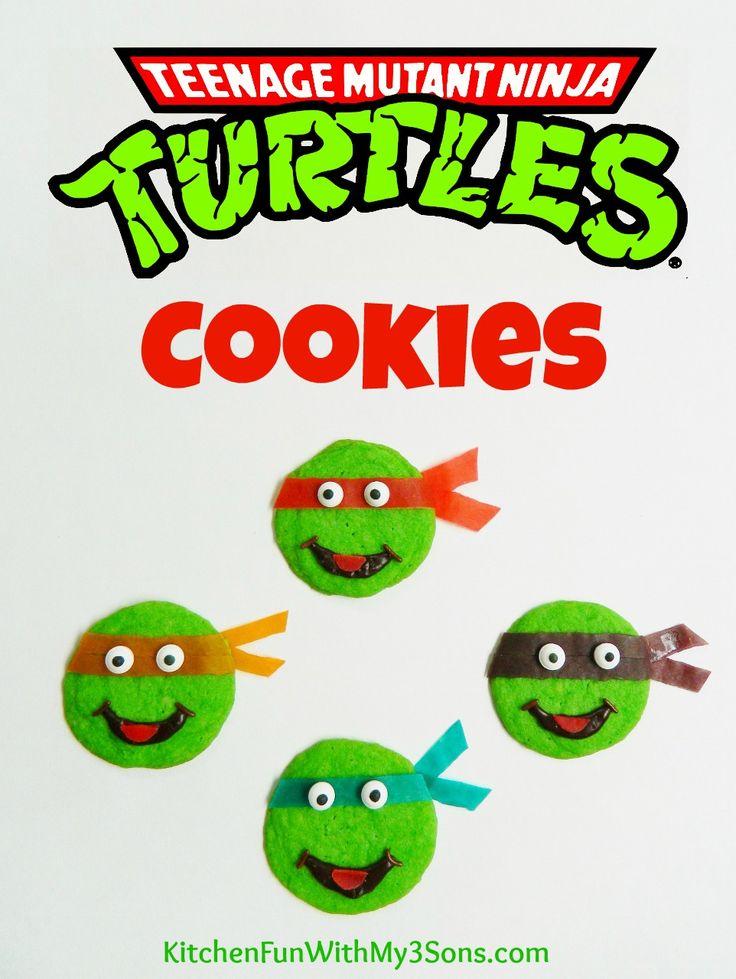 Easy Teenage Mutant Ninja Turtle Cookies from KitchenFunWithMy3Sons.com