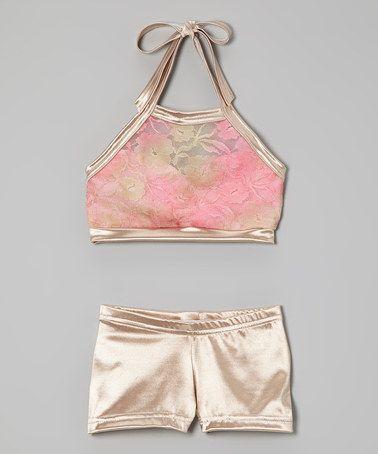 Look at this #zulilyfind! Pink & Gold Lace Sports Bra & Shorts - Girls by Elliewear #zulilyfinds