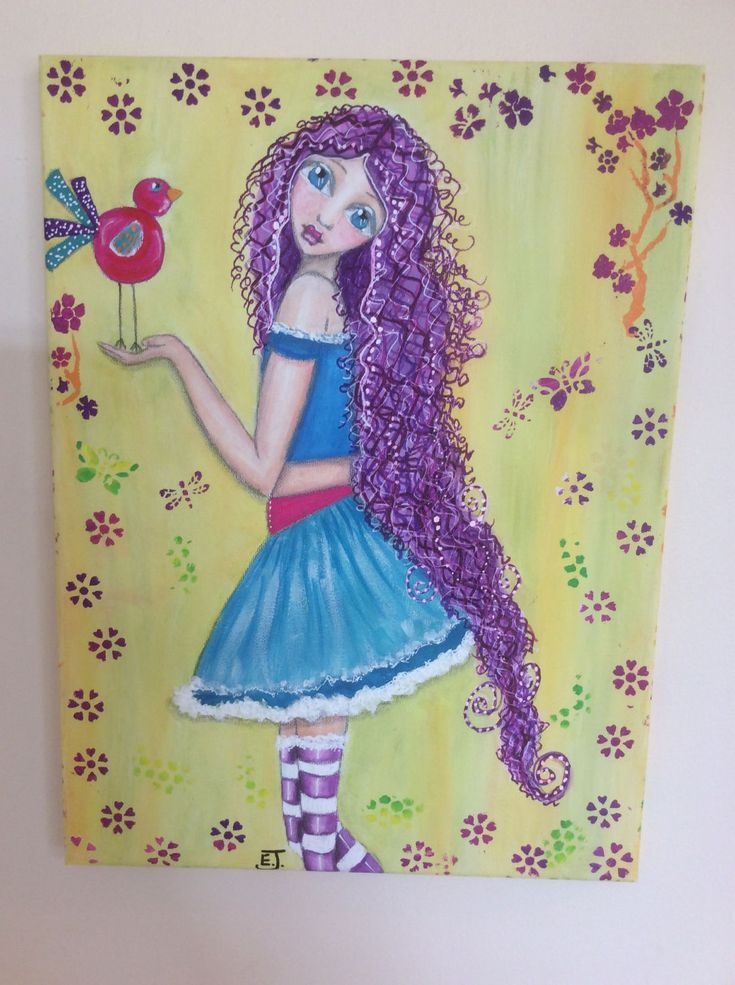 OOAK original art girl with long purple hair holding bird. Great gift for child, teen or adult. Cute skimpy skirt and long socks. Boho by HomeofWhimsy on Etsy