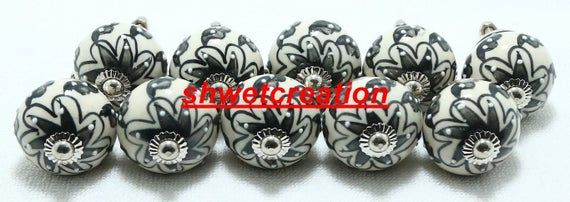 Emboss Ceramic Door Knobs Handpainted Kitchen Cabinet Drawer Pulls