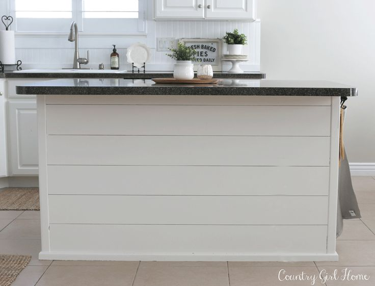White Dove, Benjamin Moore Planked kitchen island Country Girl Home Blog