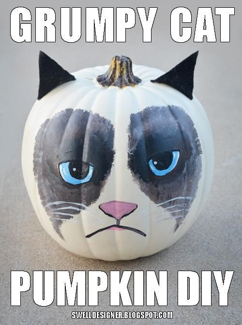 DIY Halloween: DIY Grumpy Cat Pumpkin: DIY Halloween Decor. Oh my god, love this.