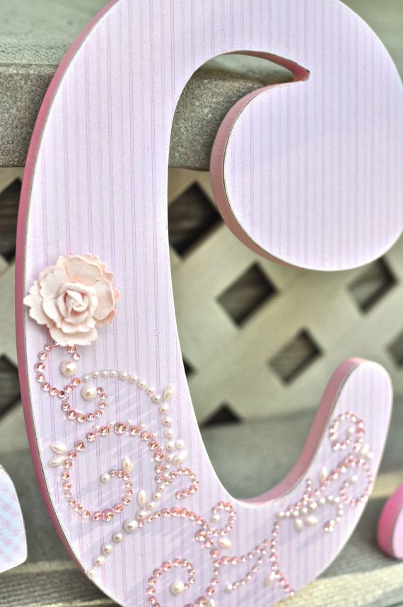 custom wooden letters girl nursery decor shabby chic personalized name wall hanging
