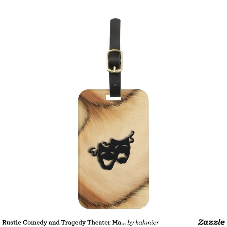 Rustic Comedy and Tragedy Theater Masks Luggage Tag #shopping #leatherwooddesign