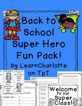 Back to School Super Hero Fun Pack - welcome notes, welcome signs, bookmarks, word search, word builder, and a get to know your classmates activity. Lots of fun for the first week of school!