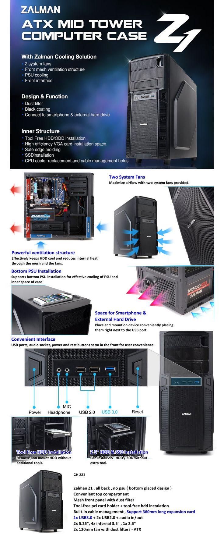 Zalman ATX Mid Tower Computer Case Z1