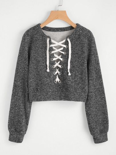 Grommet Lace Up Marled Knit Crop Sweatshirt