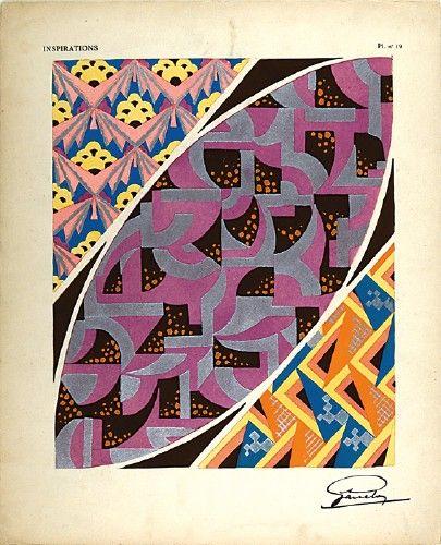 GARCELON, A. Inspirations Pl. no.19. Original pochoir print for Inspirations, published by Charles Massin #Paris #1920 #print #pattern #design #colour #textiles