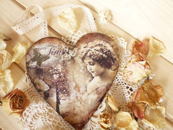Wooden heart Decorative heart Wedding favors Romantic gift Decoupage heart Handing d�cor Wooden heart Ornament Valentines days Vintage heart