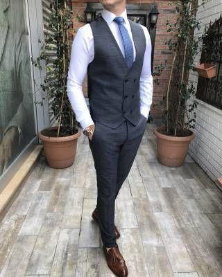 fc9de1b3e47e7 Terziademaltun - İtalyan stil erkek ceket yelek pantolon gri takım elbise  T3381 (1)