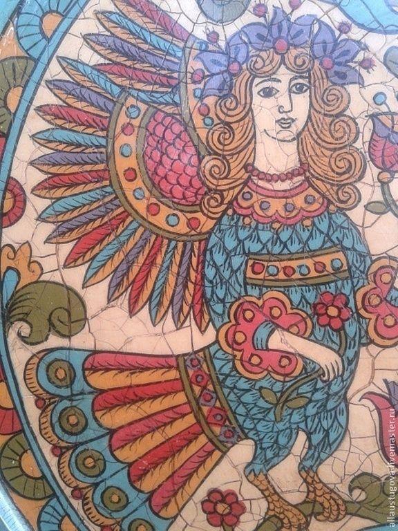 """Купить Тарелка """"Птицы Алконосты"""" - авторская ручная работа, Авторский дизайн, Роспись по дереву, роспись"""