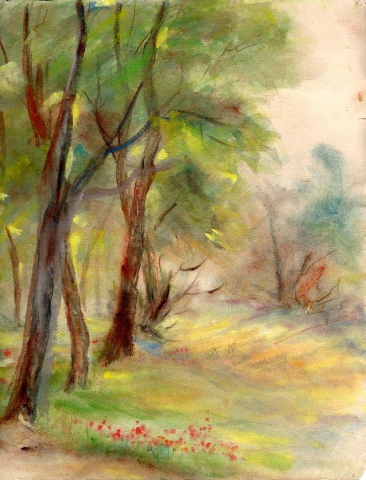 Grove, original watercolor by Greek Artemis Melissarato via Galerie Zygos on ebay now!