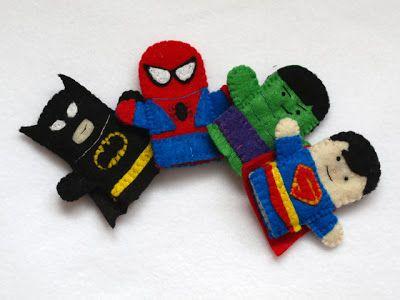 Batman, Superman, Spiderman and Hulk fingerpuppets, handmade by Joanne Rich.